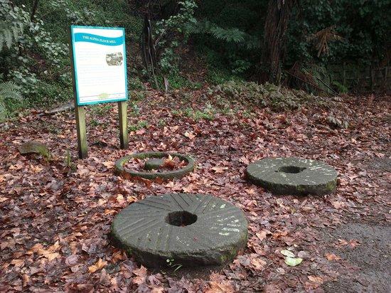 Huatoki Walkway: Mill Stones from the 1844 Alpha Flour Mill on the lower Huatoki