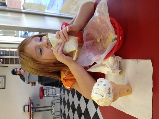 Milky Moo's: Sadie with the southwest chicken wrap.