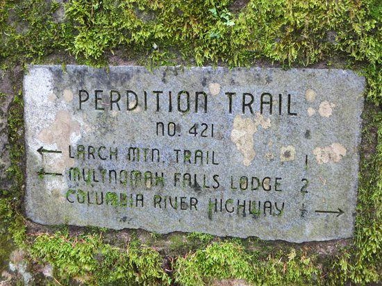 Columbia River Gorge National Scenic Area : Trail sign in the Gorge