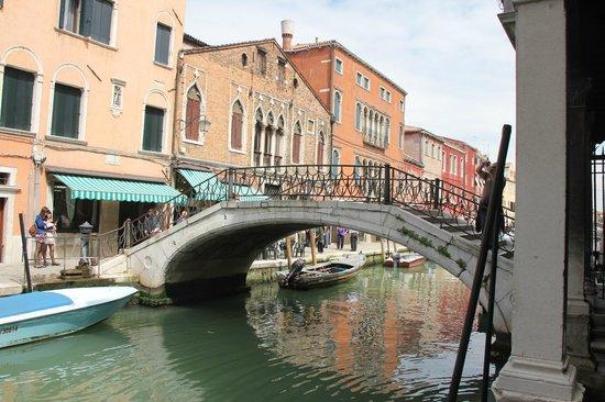 Vaporetto: A bridge over a canal in Venice
