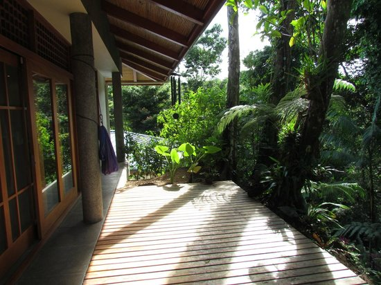 Prana Rainforest Retreat: Breakfast patio at the main house.