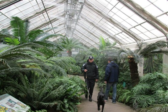 United States Botanic Garden: misting of plants, security passing by
