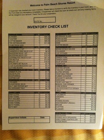 Kitchen Checklist Of Items  Picture Of Palm Beach Shores Resort