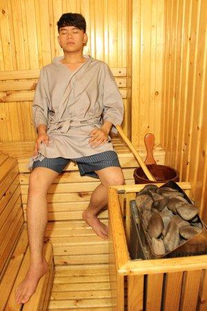 Customer use Armani Spa sauna services