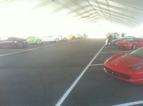 Exotics Racing: cars waiting in the pit area are open to all visitors