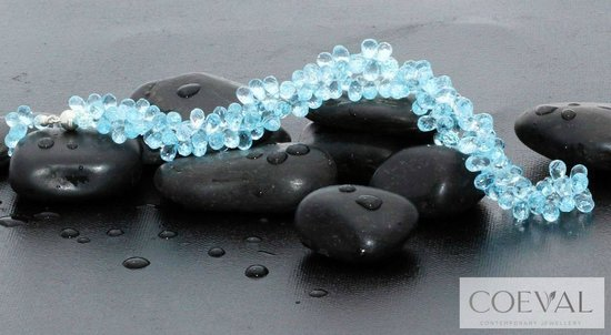 Coeval: Blue Topaz Teardrop Necklace with Silver clasp