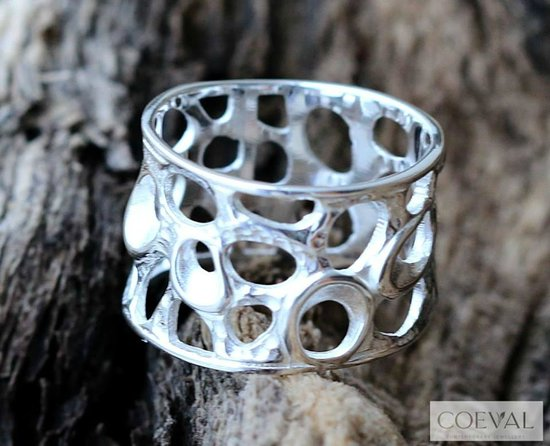 Coeval: Sterling Silver Rock-face design band