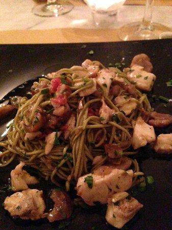 Osterialnove : Spaghettini al thè verde con castagne e orata