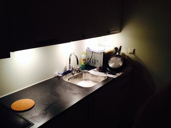 Oslo Apartments : Clean kitchen was left, please don't try and charge us lol