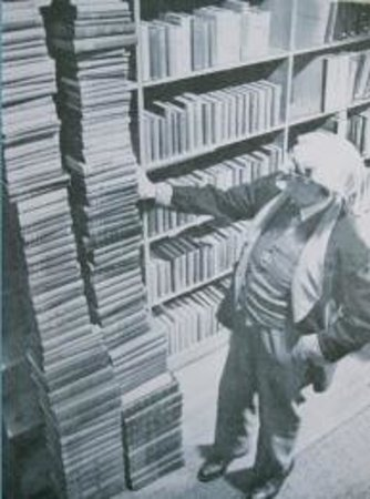 Liberty Hyde Bailey Museum: LHB next to stack of his books