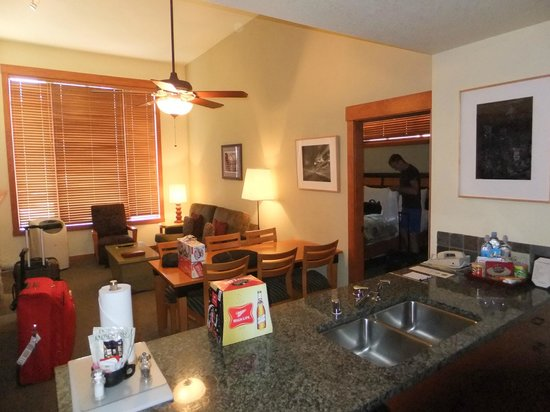 The Village Lodge: Living room with pullout couch.