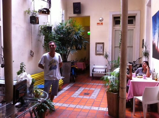 ChillHouse: Antoine (one of the owners) in lobby courtyard