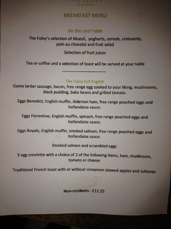 The Foley: Breakfast menu