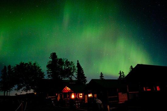 Cabins on the Bluff : Cabins under Aurora Borealis