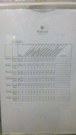 WestCord Hotel Schylge: Schoonmaakrooster toiletten