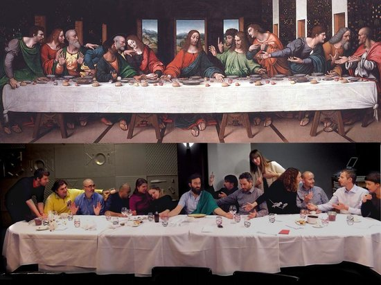 "La table du boucher: Re-enactment of the ""Last Supper"" by our project group from Europeana Creative - great fun!"