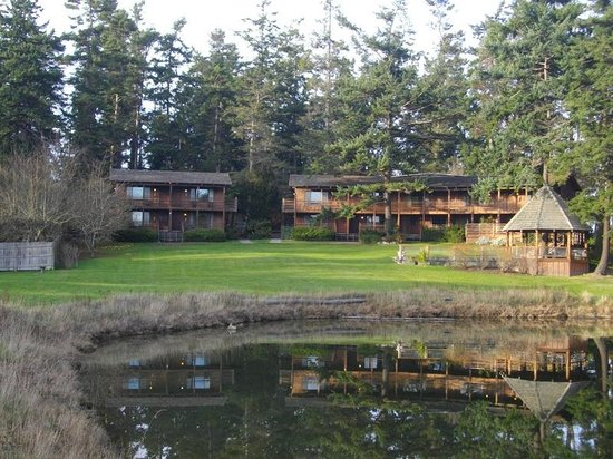 Captain Whidbey Inn : The Lagoon Rooms seen from the footbridge