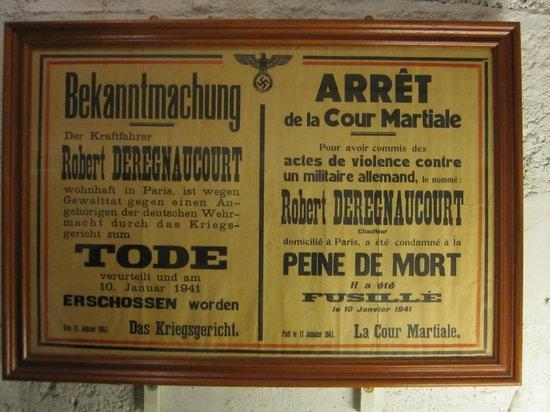 German Occupation Museum: Penne de Mort!