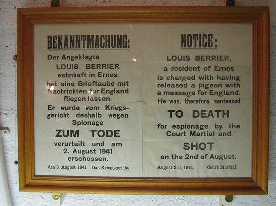 German Occupation Museum: Sentença de Morte!