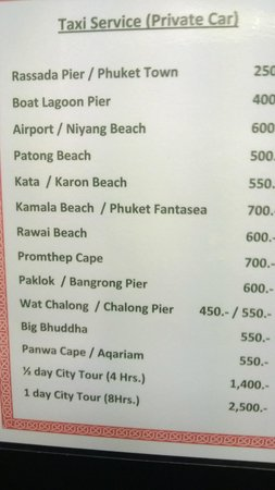 Sino House Phuket Hotel and Apartment: Charges for Transport from the Hotel