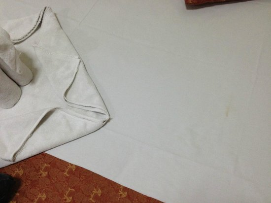 Thong Ta Resort: Clean but stained sheet.  Fraying towels need replacement.