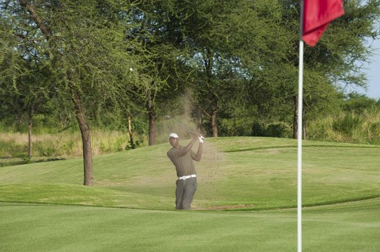 The Kilimanjaro Golf and Wildlife Estate: Buncker shot on fairway number 9