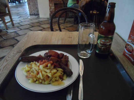 Lido: Shashlik kebabs, Latvian sausage, chips, tomato sauce and local beer
