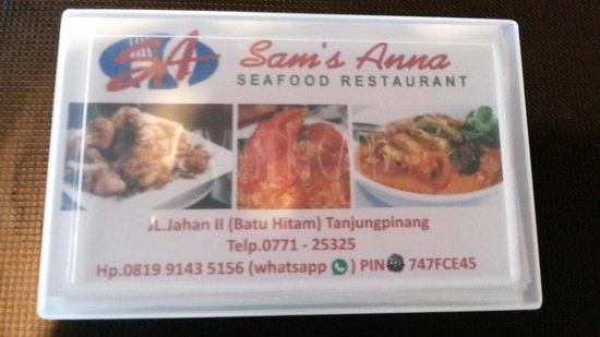 Sam's Anna Seafood Restaurant: Name card