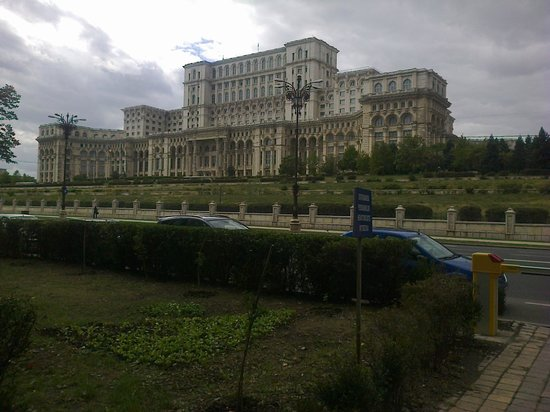 """Palace of Parliament: House of Parliament viewed from """"Izvor"""" (Water Spring) Park"""