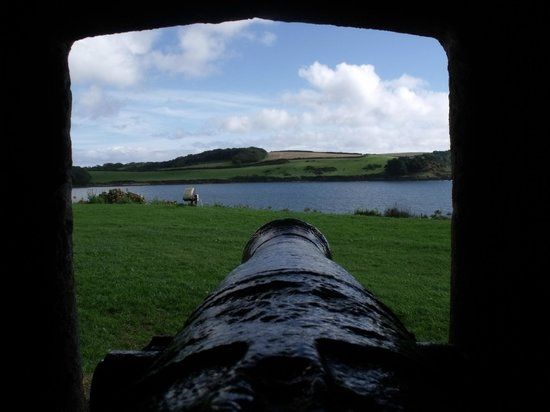 St. Mawes Castle: Canon gun with view.