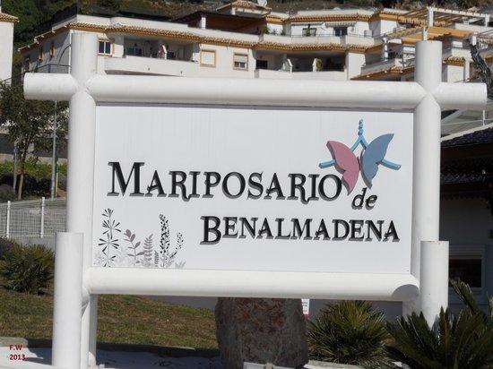 Mariposario de Benalmádena: Bord voor de ingang .
