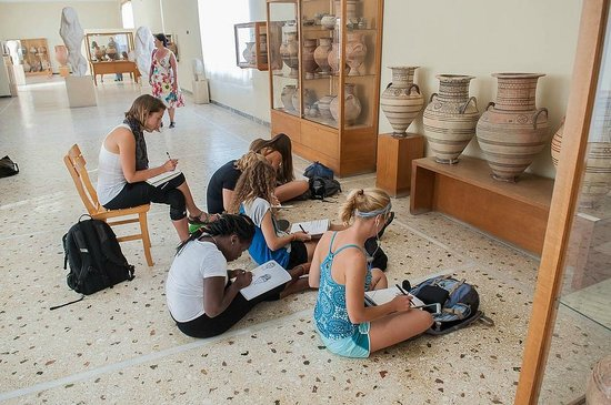 Museum of Prehistoric Thera: A few of my students doing their homework