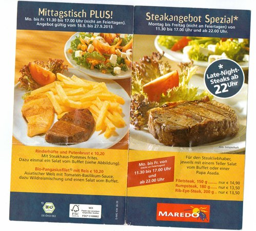 Maredo Steakhouse: two items ~