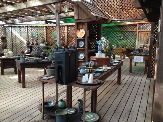 Valley of the Moon Pottery & North Eagle Gallery : Sculpture & Bonsai deck at Valley of the Moon - North Eagle Gallery. Walm apple cider is served