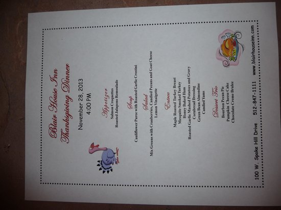 Blair House Inn: Thanksgiving menu
