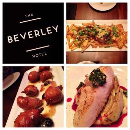 The Beverley Hotel: Yum! Top right: Surf and Turf Poutine, bottom left: doughnuts, bottom right: Halibut.