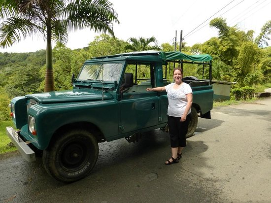 Coco Reef Tobago: Proper transport. Ellis tours land rover