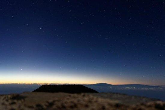 Haleakala Crater: Early morning glow and stars from Haleakala