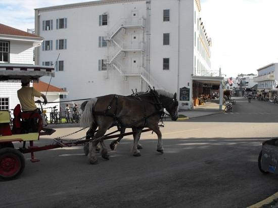 Mackinac Island State Park: A taxi on the main street