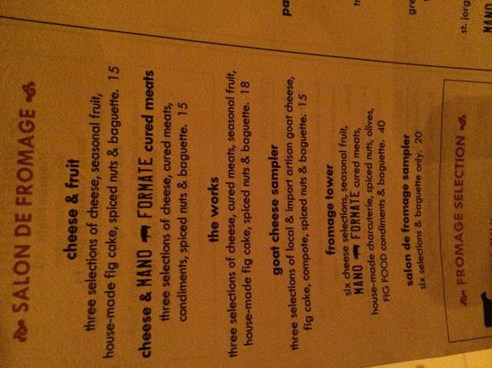 the girl & the fig: Cheese menu