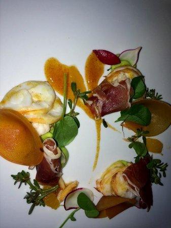 George's at the Cove: Appetizer- lobster,avocado, radish, tangerine, persimmon, Serrano ham