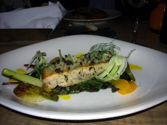 George's at the Cove: Entree- Swordfish, fennel, tangerine, olive, swiss chard