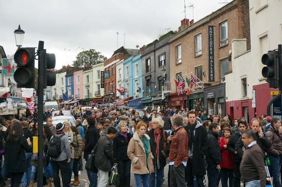 Portobello Road Market: The crowds on Saturday afternoon