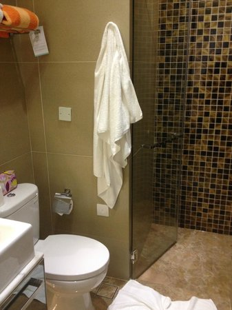 Dorsett Singapore : small bathroom with little shelf space, but the shower was good