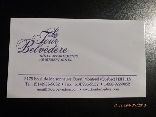 La Tour Belvedere: tarjeta