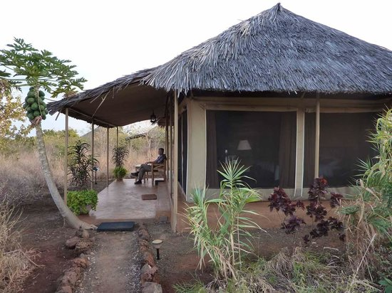 Ikweta Safari Camp: The tent/house with own seat outside