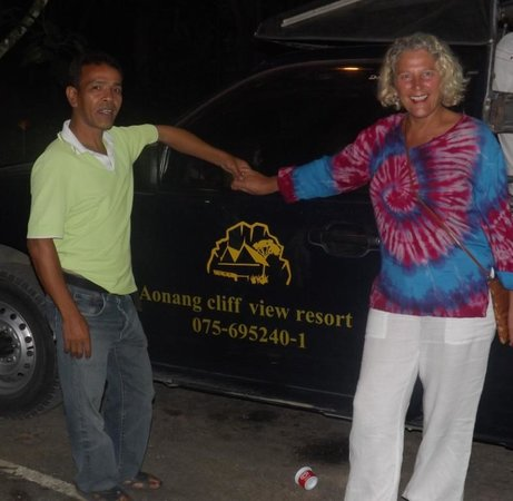 Aonang Cliff View Resort: Ritcha, a great character who runs the shuttle