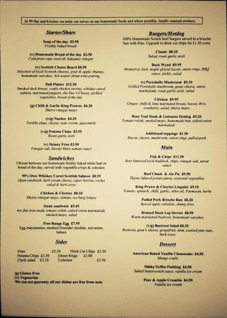 99 Bar Kitchen Current Menu