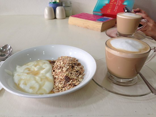 Cafe Siam Breakfast Cafe: Muesli with yoghurt and honey, and flat white