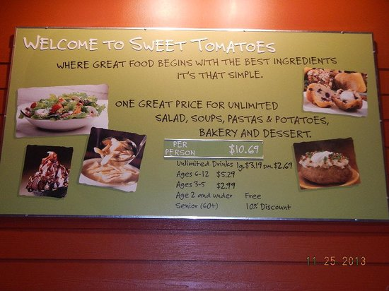 Sweet Tomatoes: price board